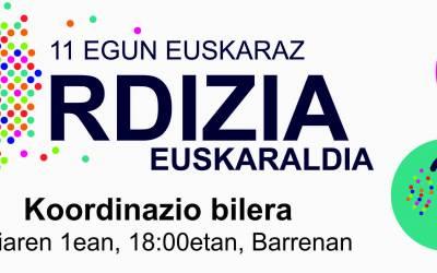 EUSKARALDIA ANTOLATZEKO BILERA EGINGO DA URRIAREN 1EAN