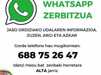 Ordiziako Udalak Whatsapp zerbitzua abiatu du