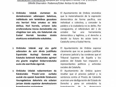 El Ayuntamiento de Ordizia aprueba la declaración institucional