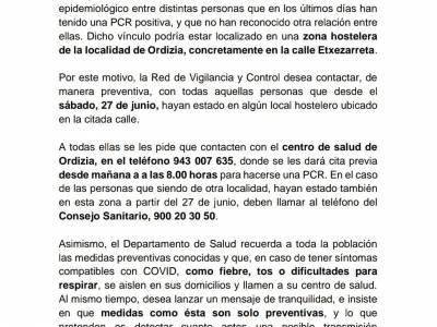 Nota informativa del Departamento de Sanidad en relación al foco detectado en Ordizia